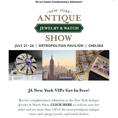 New York Antique Jewelry and Watch Show html email